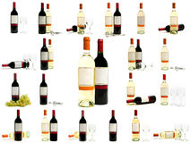 Red and white wine bottles set Royalty Free Stock Photos