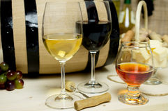 Red and white wine, brandy Stock Photos