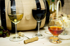 Red and white wine, brandy Stock Images