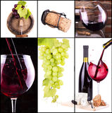 Red and white wine with champagne collage Stock Photography
