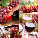 Red and white wine collage Royalty Free Stock Photos