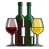 Red and white wine. Red and white dry wine Stock Photo