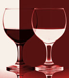 Red and white wine glass contrast Stock Photo