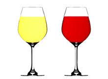 Red and white wine in a glasses Stock Images
