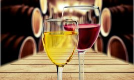 Glasses of red and white wine on blurred. Red white wine glasses color background festive royalty free stock image