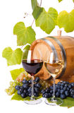 Red and white wine in glasses royalty free stock photography