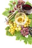 Red white wine glasses grape vine leaves Royalty Free Stock Image