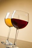 Red and white wine glasses on table Royalty Free Stock Images