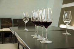 Red and white wine Glasses Stock Images
