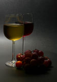 Red and white wine with grapes. Low key image of red and white wine with grapes against dark background Royalty Free Stock Image