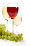 Red and white wine with grapes Royalty Free Stock Image