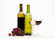 Red and white wine isolated on white Stock Photography