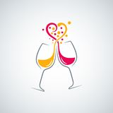 Red and white wine love concept background Stock Image