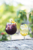 Red and white wine sangria cocktail drinks outside Royalty Free Stock Photos