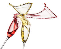 Red and white wine splashes from glasses isolated on white backg Royalty Free Stock Image