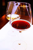 Red and white wine in stem glasses Royalty Free Stock Photos