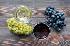 Red and white wine. Top view. Stock Image