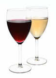 Red and white wine. Twoo glasses with red and white wine over white background stock photos