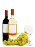 Red and white wine with vine and wineglass Stock Images