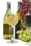 Red and White wines. Group of red & wite wines ,bottle & grapes Royalty Free Stock Photography