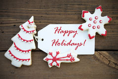 Red White Winter Background with Happy Holiday Greetings Stock Photography