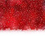 Red white winter, Christmas background with snow flake border. White snow flake border at the bottom of a red abstract background with blurry light dots and snow Royalty Free Stock Photo