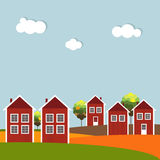 Red And White Wooden Scandinavian Houses. Autumn Theme. Red And White Wooden Scandinavian Houses. Colorful Autumn Theme Royalty Free Stock Image