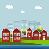 Red And White Wooden Scandinavian Houses. Autumn Theme. Red And White Wooden Scandinavian Houses, Skylines Background royalty free illustration
