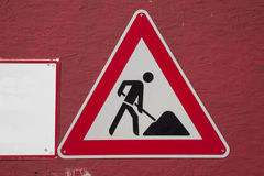 Red and White Work Traffic Sign Royalty Free Stock Images