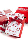 Red and white wrapped Christmas presents Stock Photos