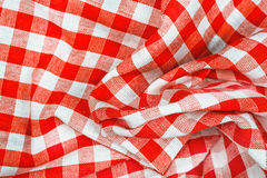 Red and white wrinkled checkered tablecloth Royalty Free Stock Photography