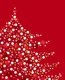 Red & white Xmas confettis. Christmas red background with confettis tree Stock Images