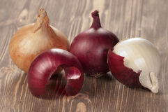 Red, white and yellow onions Stock Photo