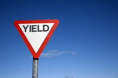 Red and White Yield Sign Stock Photo