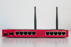 Red Wi-fi Router. Wi-fi Router Front side panel Royalty Free Stock Photo