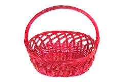 Red Wicker Basket With Handle Royalty Free Stock Photography