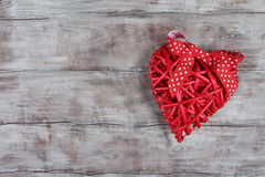 Red wicker heart with bow Stock Photography