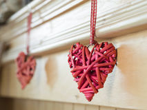 Red wicker hearts ,selective focus Royalty Free Stock Photography
