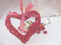 Red wicker hearts. On a white background. bokeh Stock Photos
