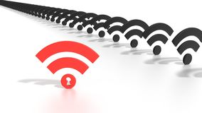 Hacked red keyhole wifi network WPA 2 vulnerability concept Royalty Free Stock Images