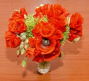 Red wild flowers of Papaver rhoeas bouquet, corn field poppy. With buds, close up Stock Photo