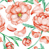 Red wild roses pattern Stock Photos