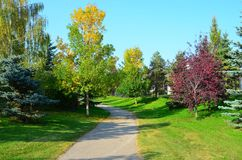 Red Willow Trail System, St Albert, Western Canada. Red Willow Trail walking path in picturesque St Saint  Albert, Alberta, Western Canada Prairies prairie in Stock Photo