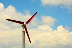 Red wind generator turbine Royalty Free Stock Photo