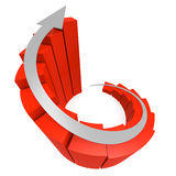 Red winding bar chart with white arrow Royalty Free Stock Photo