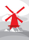 Red windmill in nature. Red windmill on the background of natural landscape Stock Photos