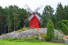 Red windmill Stock Photo