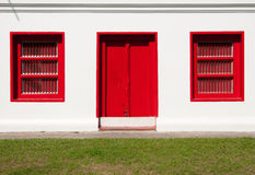 Red Window in the Bangkok. Red Windows in Thai Temple Bangkok Royalty Free Stock Photo