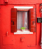 Red window in Burano Royalty Free Stock Image
