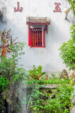 Red window. Chinese window with red bars in Hanoi Vietnam Stock Photography